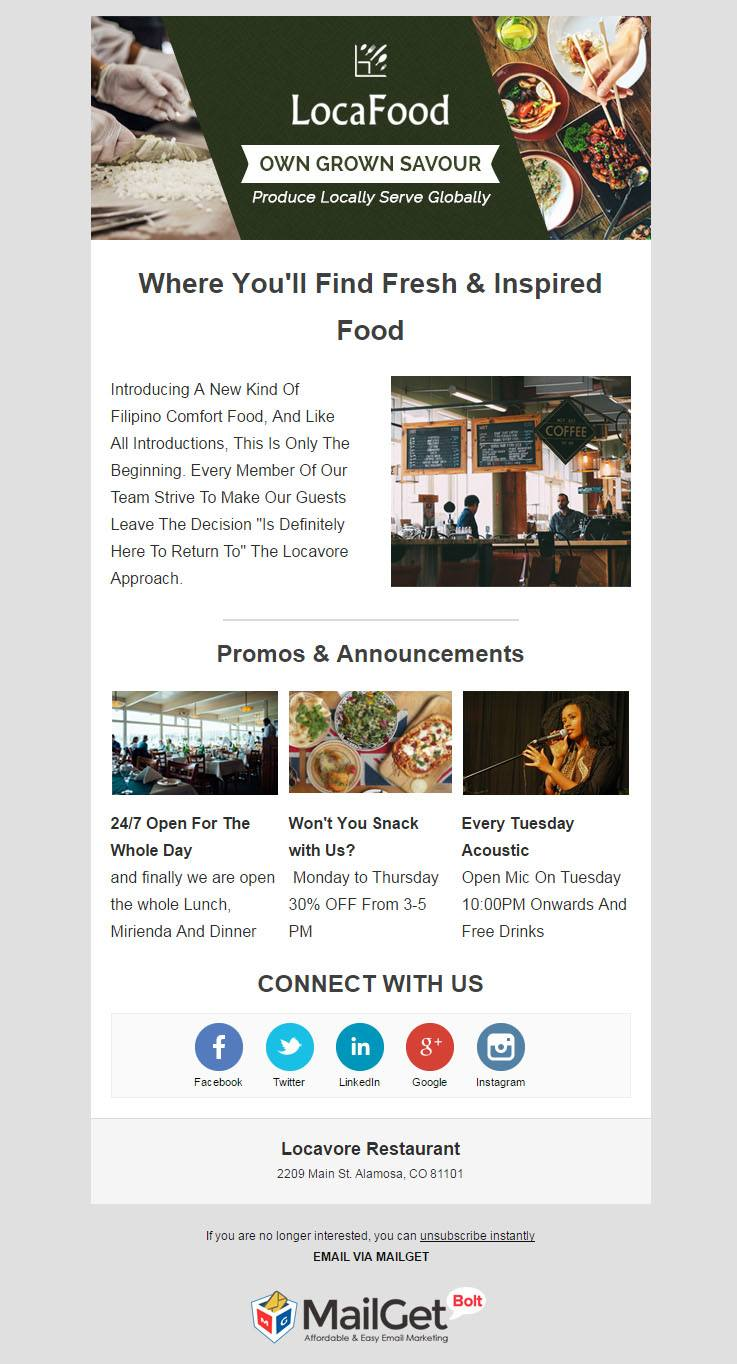 Email Marketing For Locavore Restaurants