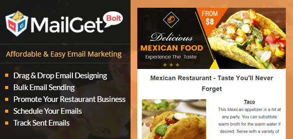 MailGet Bolt - Email Marketing For Mexican Restaurant
