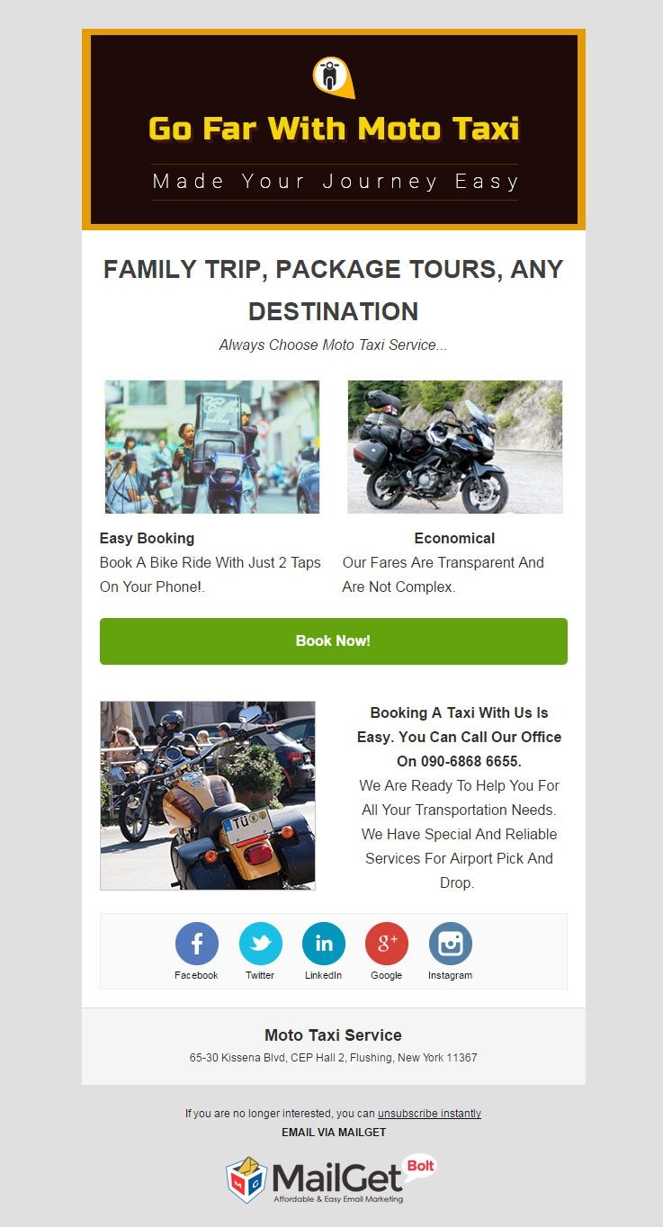 Email Marketing For Moto Taxi Agencies & Car Rental Companies