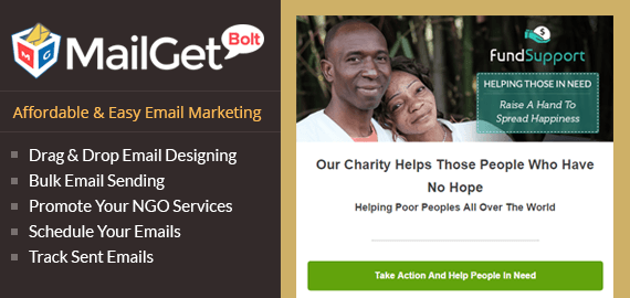 MailGet Bolt - Email Marketing For NGO & Charitable Trusts
