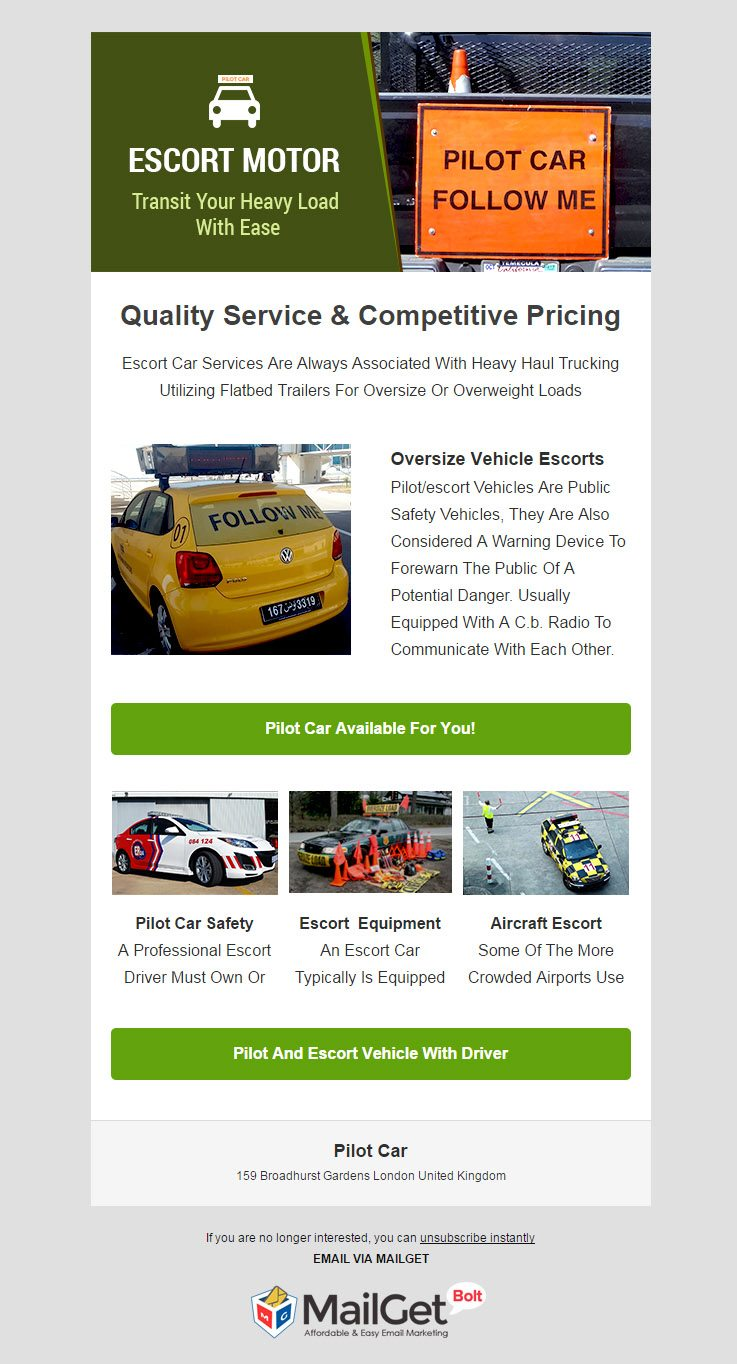 Email Marketing For Pilot Car & Escort Vehicles Services