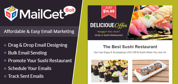 MailGet Bolt - Email Marketing For Sushi Restaurant
