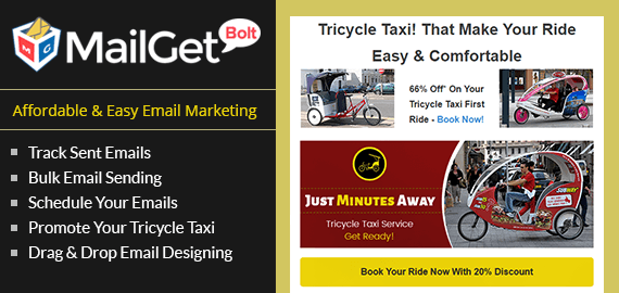 Email Marketing For Tricycle Taxi & Rickshaw Services