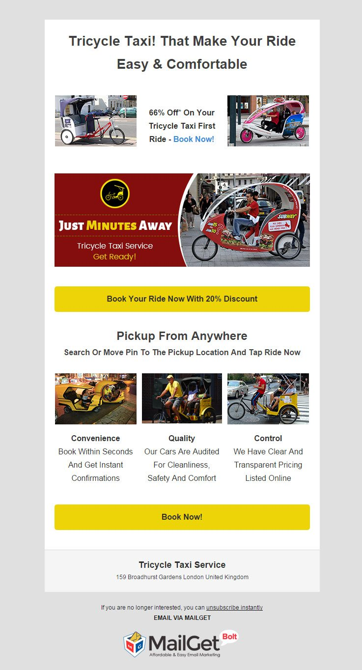 Email Marketing For Tricycle Taxi Services