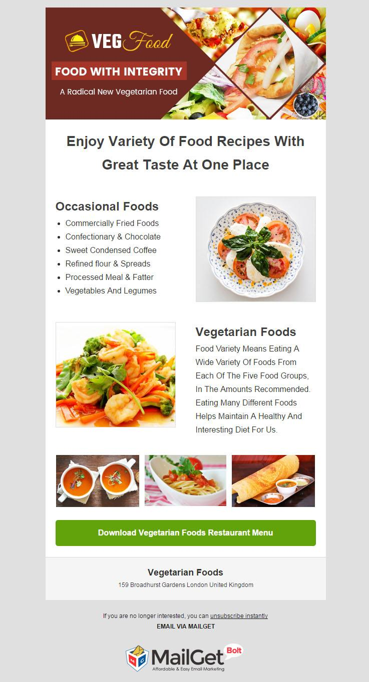 Email Marketing For Vegetarian Food Restaurants