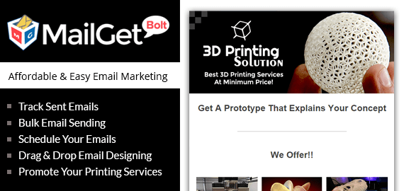 Mailget Bolt – Email Marketing For 3d Printing Services