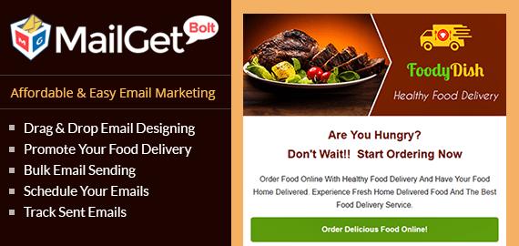 MailGet Bolt Email Marketing For Food Delivery | FormGet