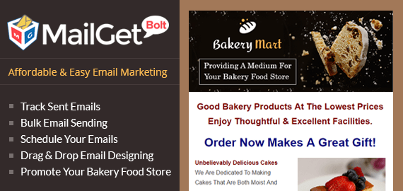 MailGet Bolt - Email Marketing For Bakery Food