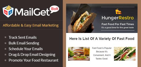 MailGet Bolt - Email Marketing For Fast Food Restaurant