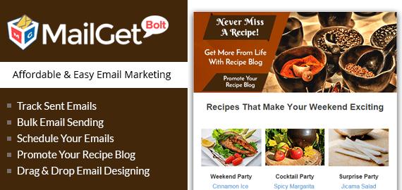 Recipe Blog email marketing slider