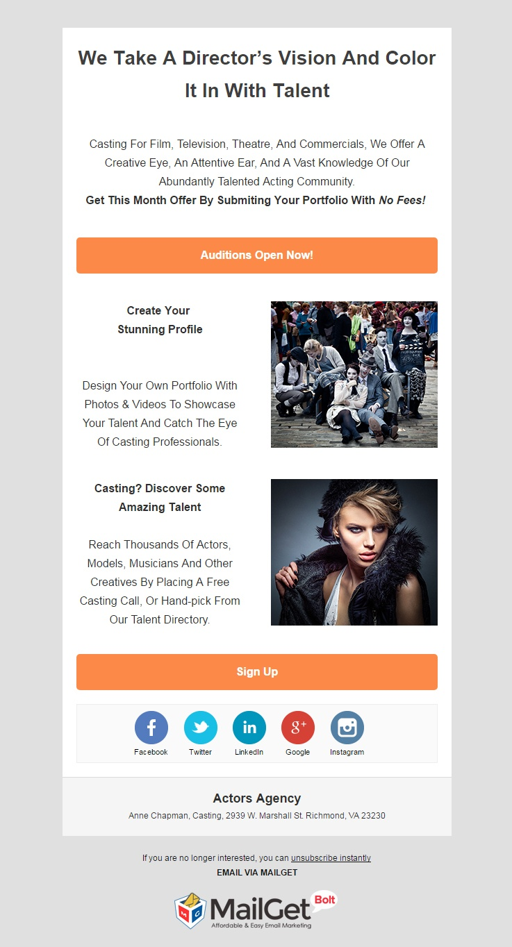 Actors Email Template