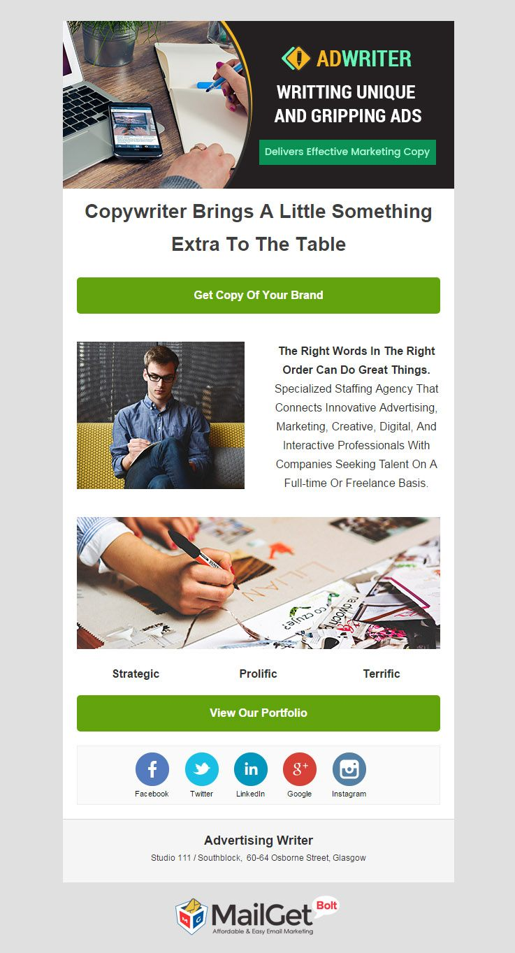 Advertising Writers Email Template