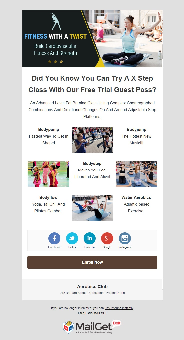 Fitness Email Templates