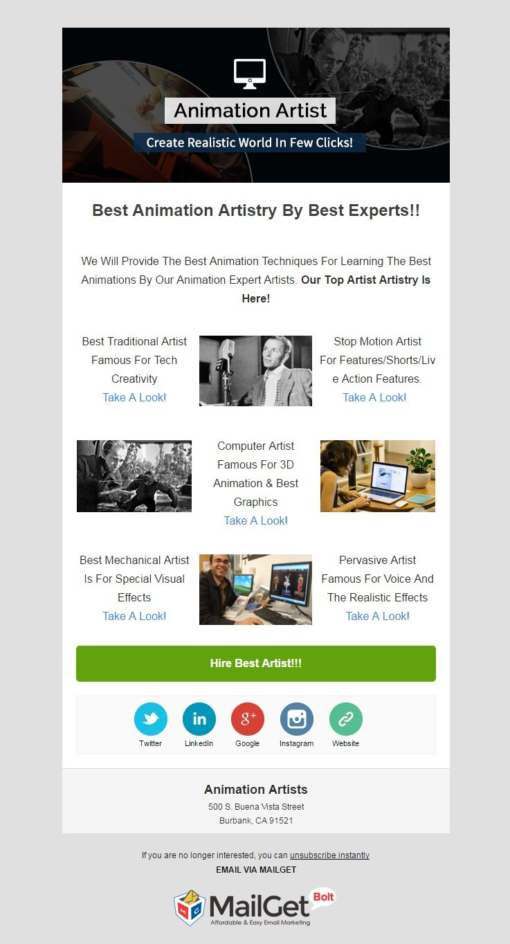 Animation Artists Email Template