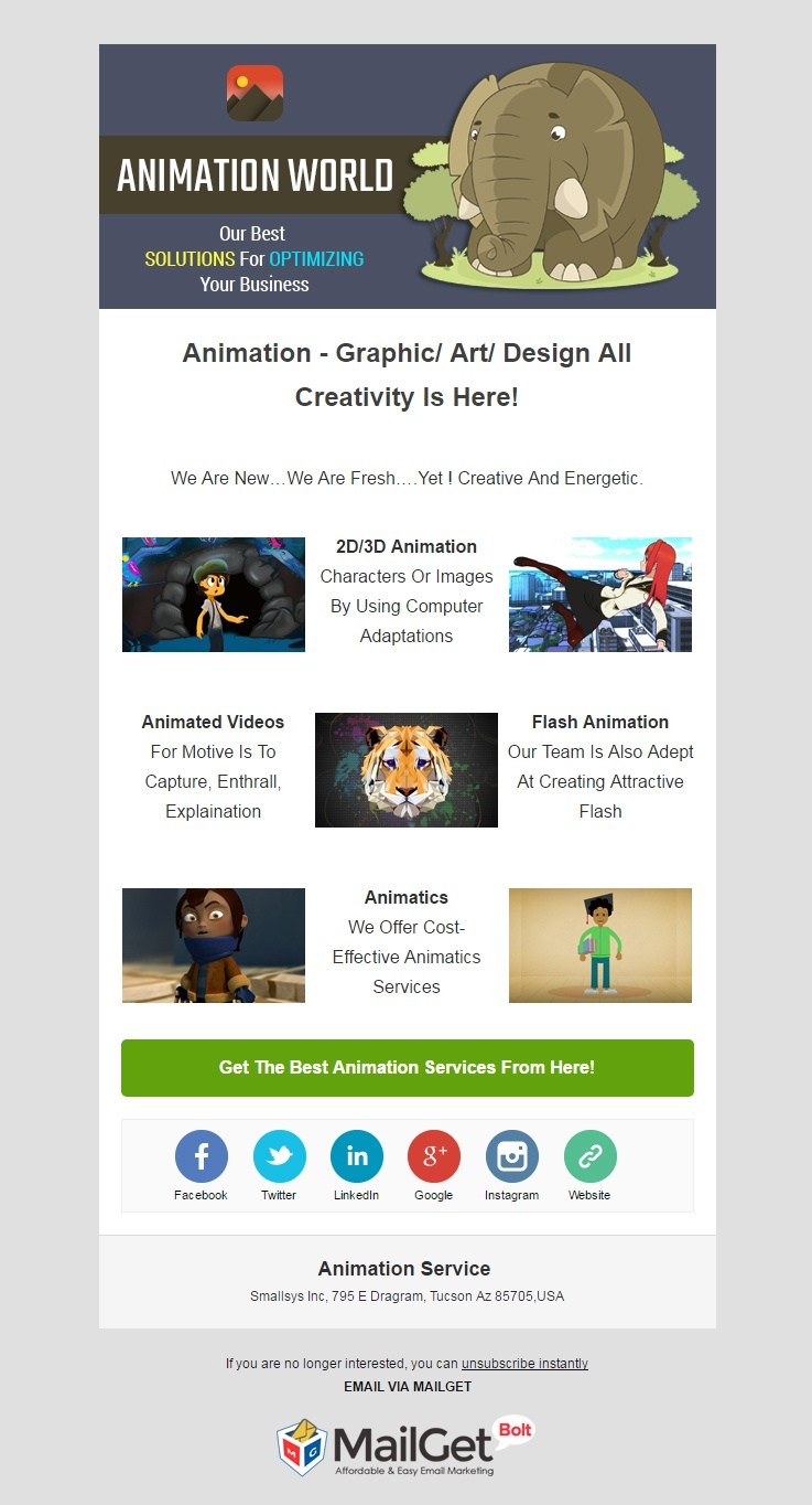 Animation Service Email Template