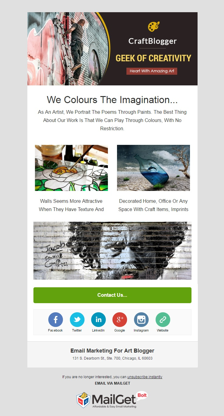 Art Blogger Email Template