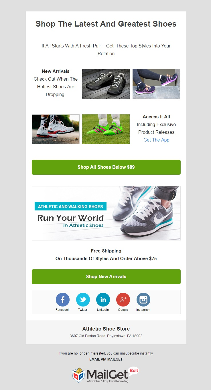 Athletic Shoe Store Email Templates