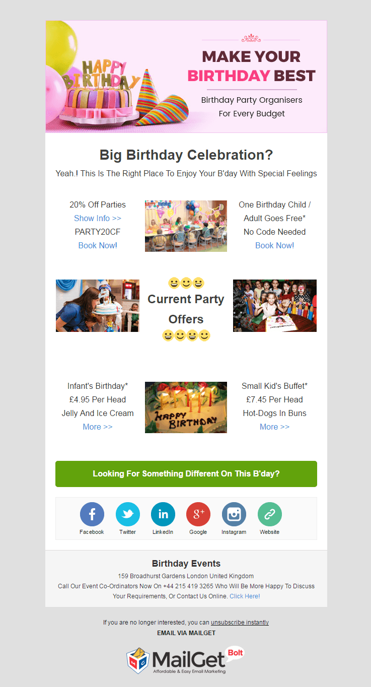 Birthday Events Email Template