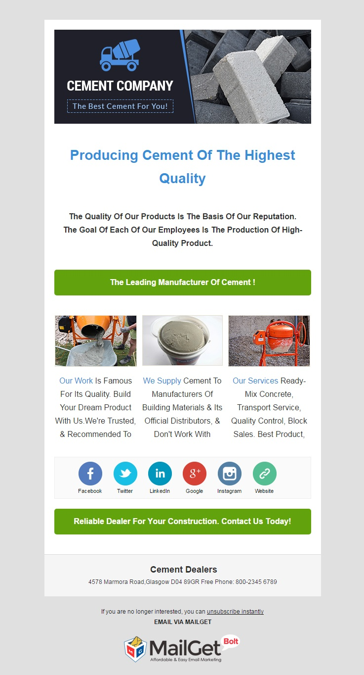 Cement Dealers Email Template