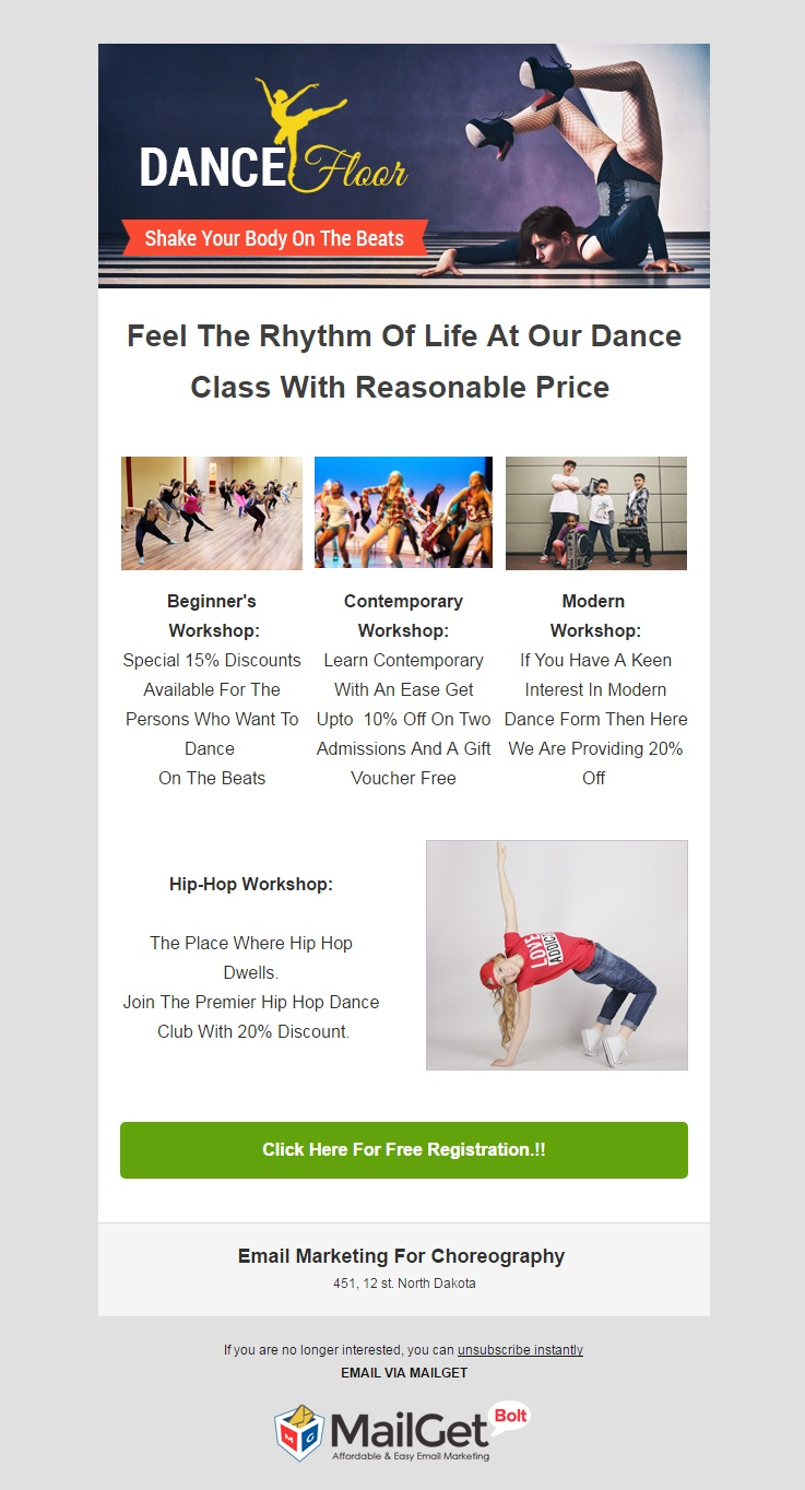 Choreographers Email Template