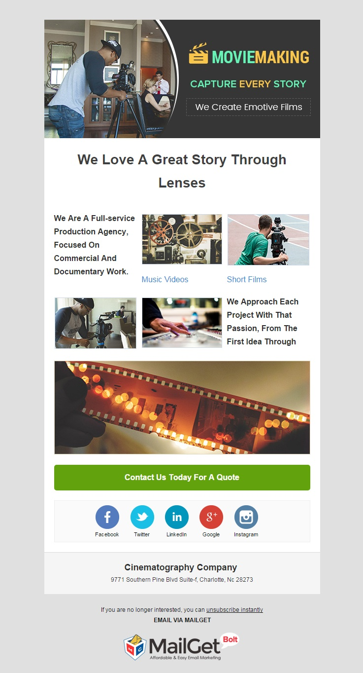 Cinematographer Email Template