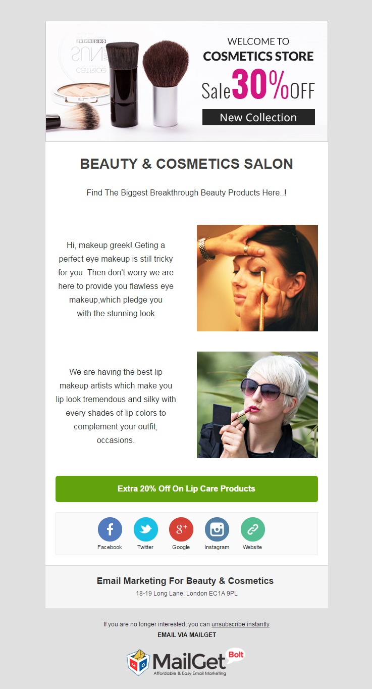 Email Template For Online Cosmetic