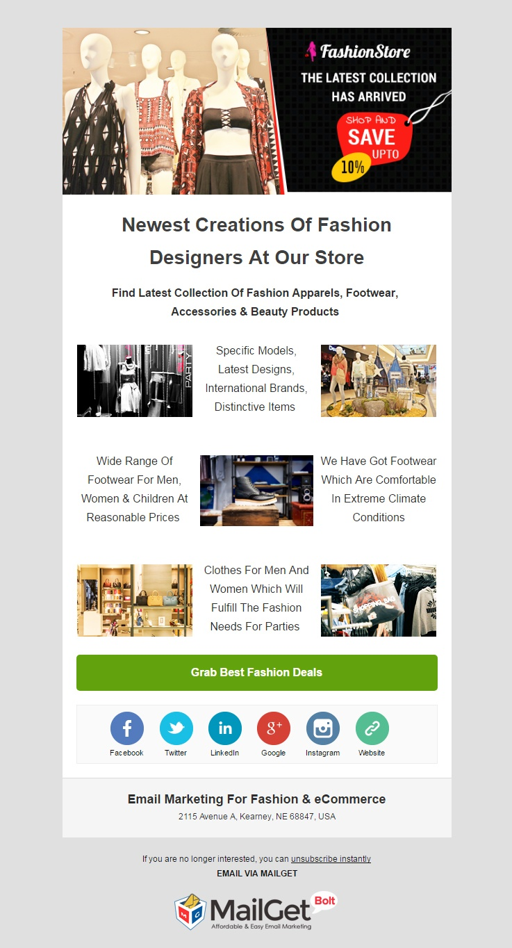 Email Template For Fashion