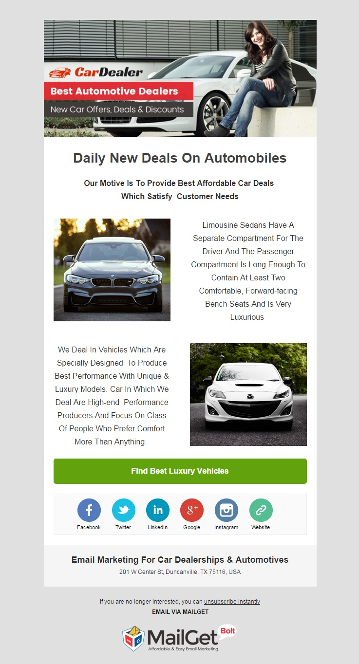 Email Template For Automotive Dealers