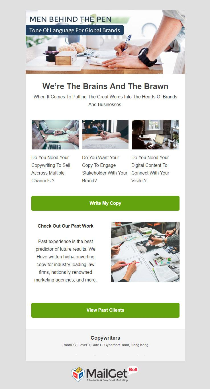 Copywriters Email Template