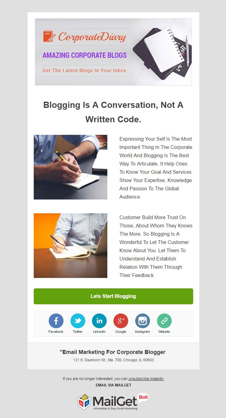 Corporate Blogger Email Template