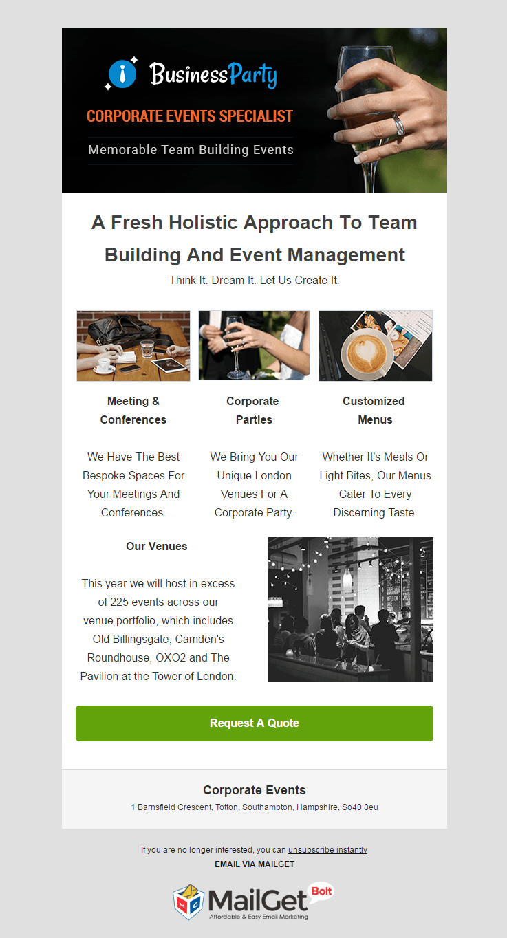 Corporate Events Email Template