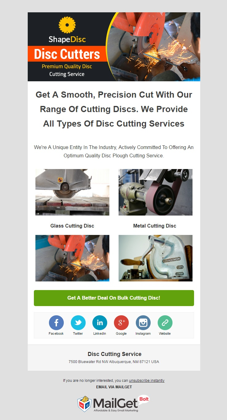 Disc Cutting Service Email Template