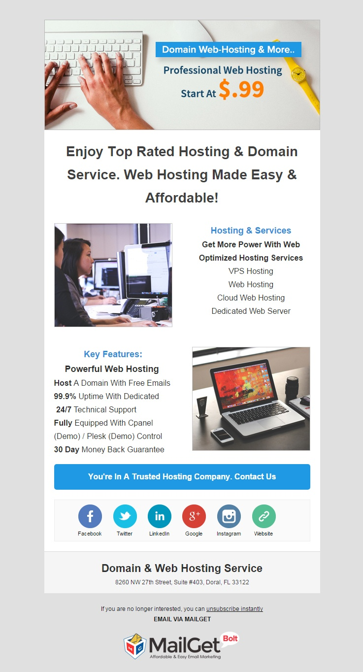 Domain & Web Hosting Service Email Template
