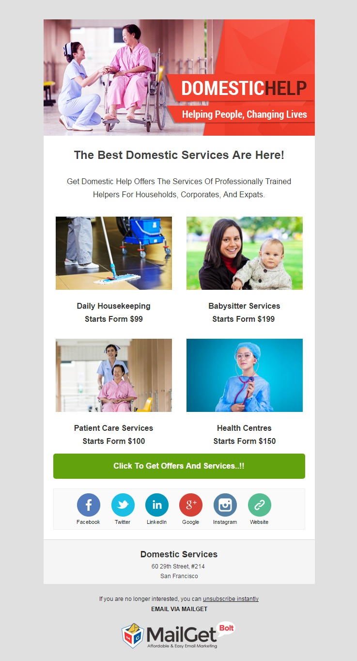 Domestic Service Agency Email Template