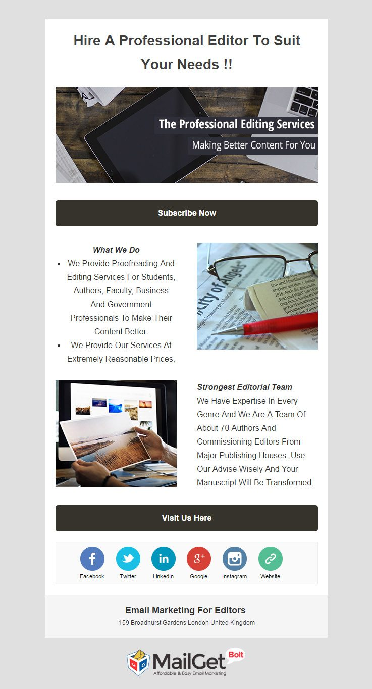 Editor Email Template