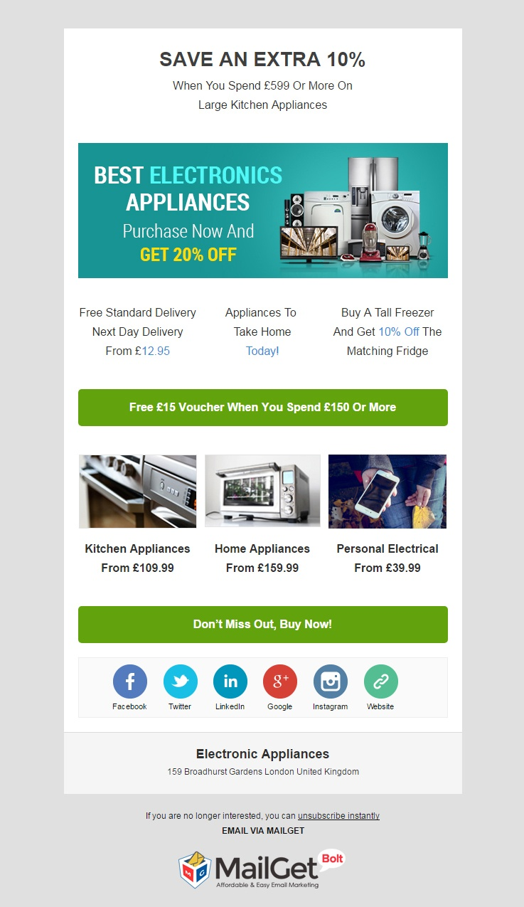 Electronic Appliances Email Template