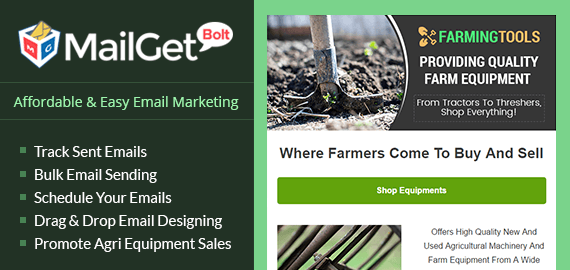 Agriculture Equipment Sales Email Marketing Service For Farm Machines & Tools