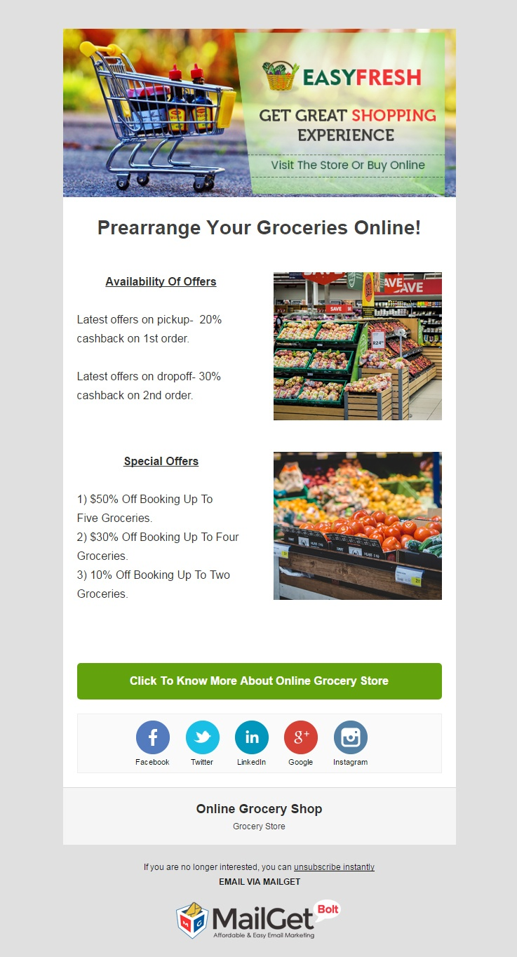Email Marketing For Online Grocery Shops