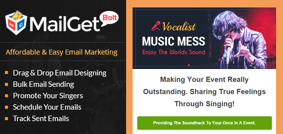 MailGet Bolt - Email Marketing For Singers