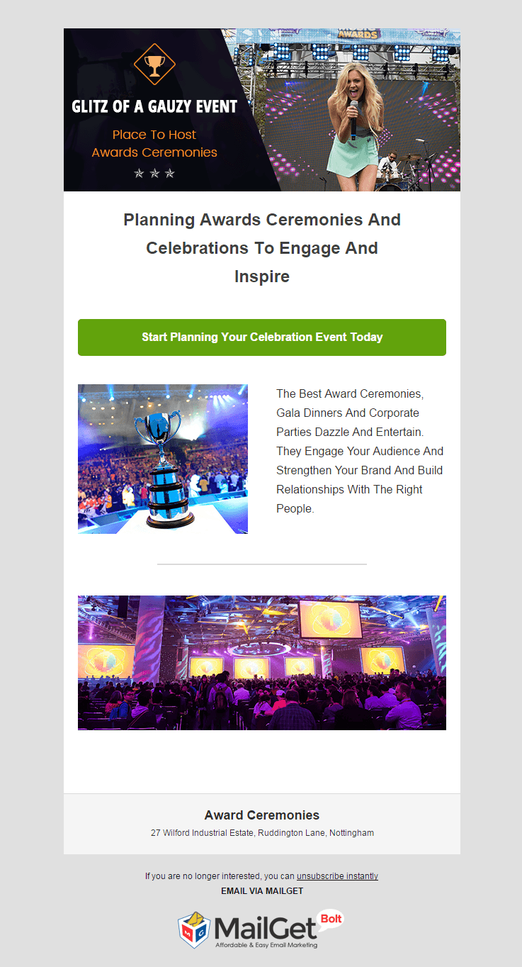 Email Marketing Service For Award Ceremonies Organizers