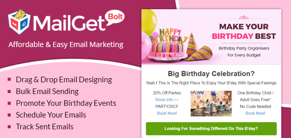 Email Marketing Service For Birthday Party & Anniversaries Organizers Slider