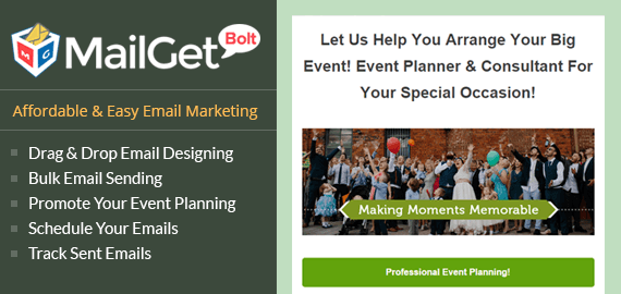 Email Marketing Service For Event Planner Slider