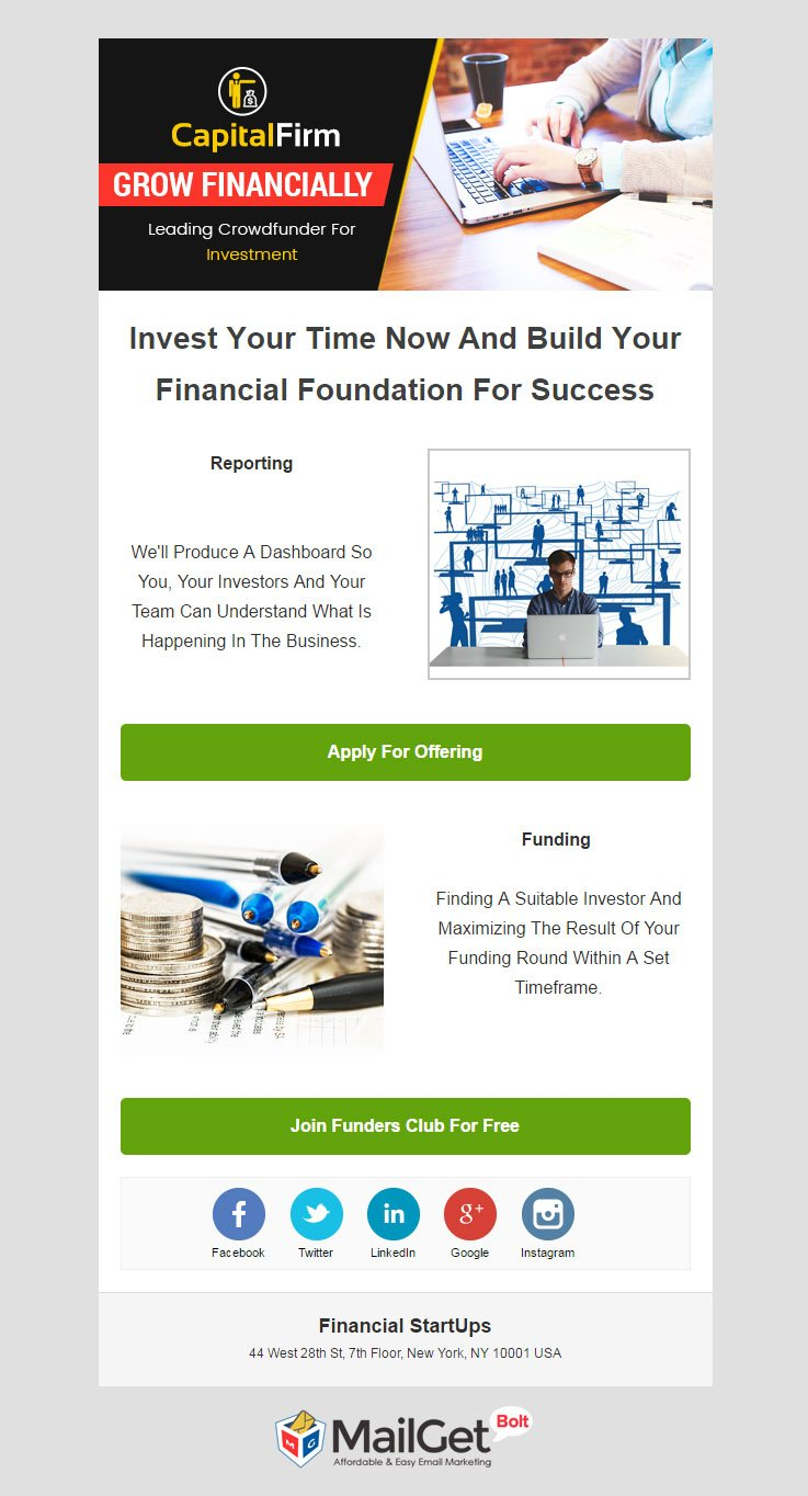 Email Marketing Service For Financial Business Startups