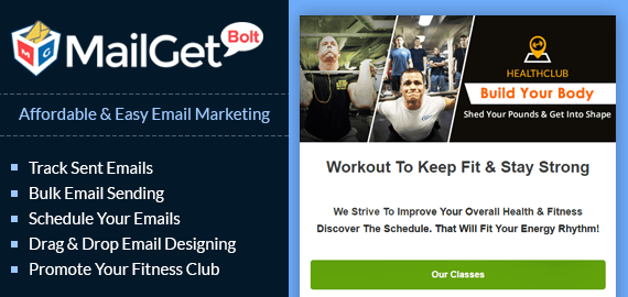 MailGet Bolt - Email Marketing Service For Fitness Center & Workout Gym