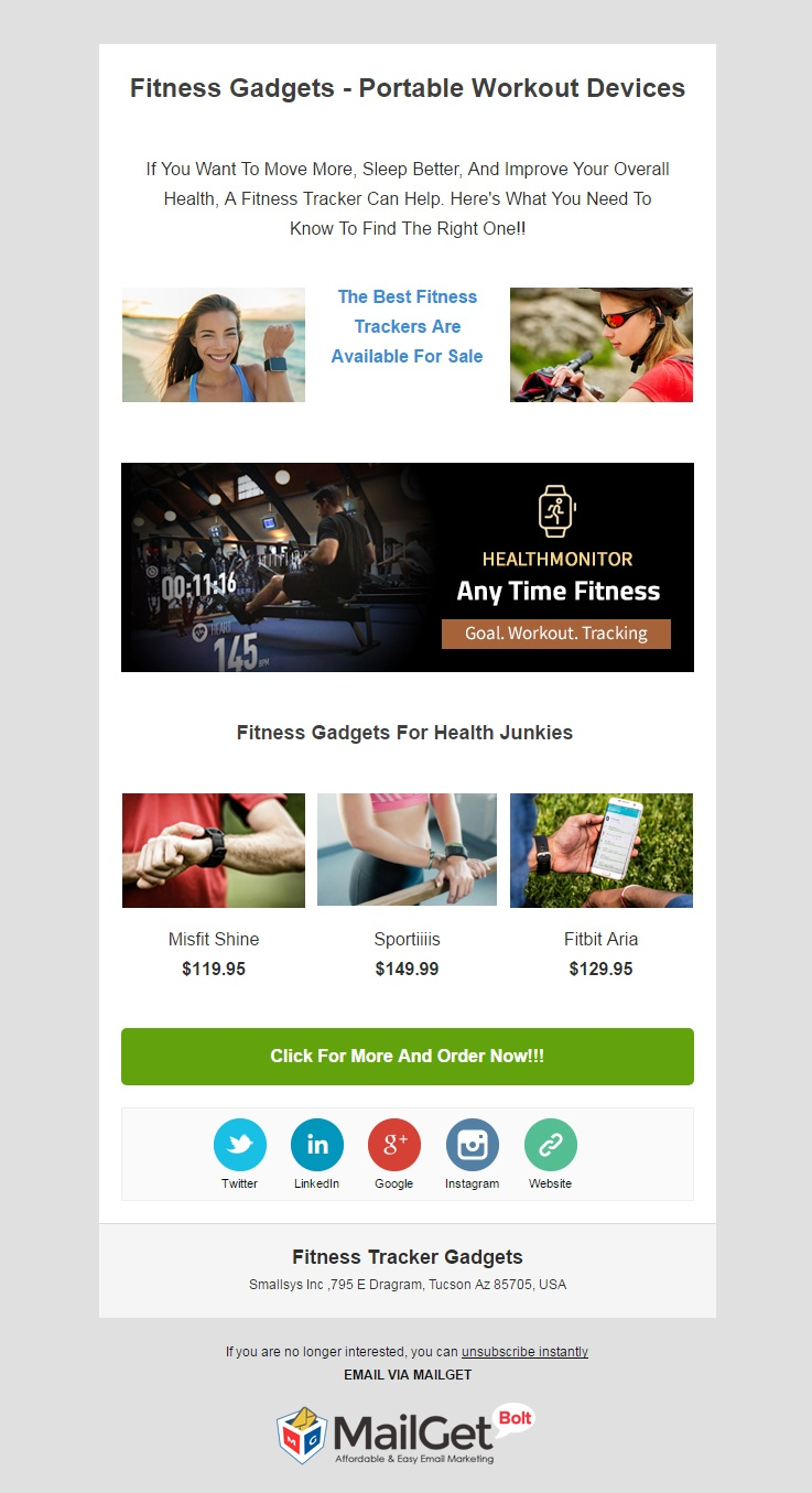 Email Marketing Service For Fitness Tracker Gadget Stores