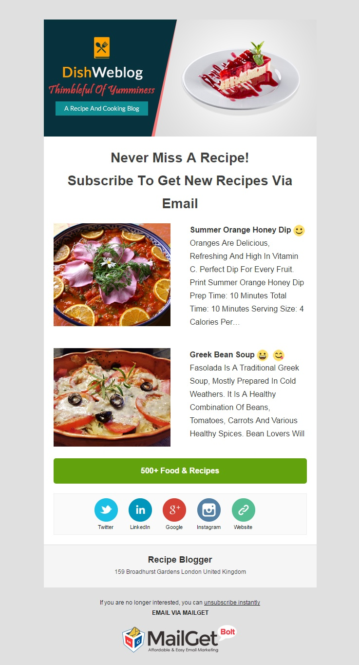Email Marketing Service For Food Bloggers
