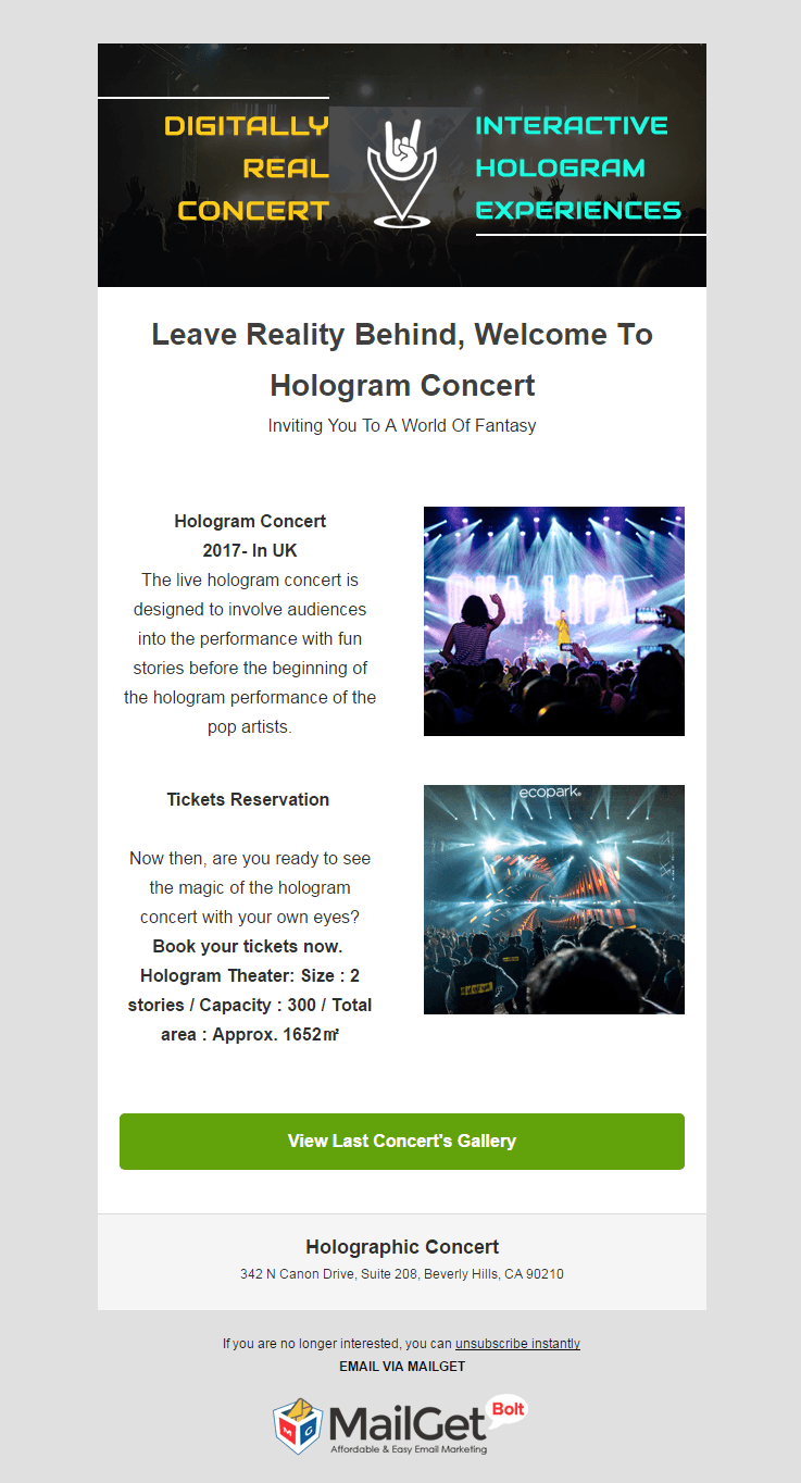 Email Marketing Service For Holographic Events & Concerts