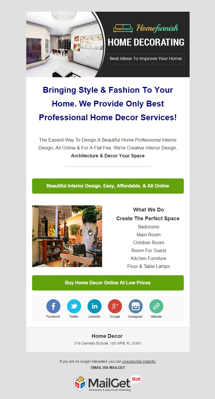 Email Marketing Service For Home Decor & Interior Designers
