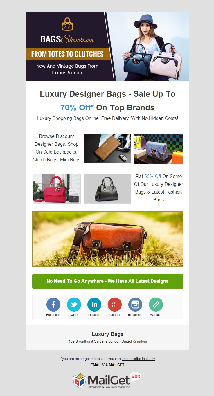 Email Marketing Service For Luxury Bags Stores