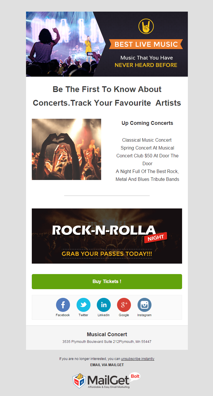 Email Marketing Service For Musical & Band Concerts